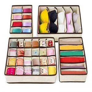 4 Boites de Rangement Pilables Organisateur de Tiroir pour Sous Vêtements, Chaussettes, Accessoires de mode, Tissu de Couleur Beige de la marque AlgaMarina image 0 produit