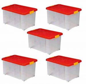 5 Boîtes De Rangement Plastique 55L, 60x40x30 cm, Sur Roulettes Avec Couvercle de la marque Artecsis image 0 produit