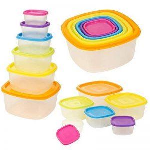 6x Boîte de rangement des aliments en plastique transparent avec Multi Couleur couvercles empilables de la marque EG Homeware image 0 produit