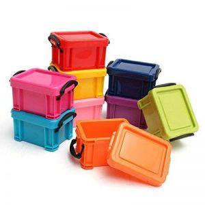 9 Petites Boîtes de Rangement en Plastique avec Couvercle Clip – Petites Caisses de Bureau Empilables – Taille 7,5x6,5x4,5cm – Mini Unité de Stockage Multicolores Organisation de Bureau de la marque Kurtzy image 0 produit