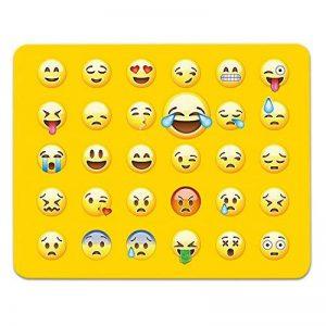 ADDIES Tapis de souris toutes les Emoji/émoticônes sur un tapis de souris. Matière très joli motif dans Fine Cellophane Emballage Cadeau avec caoutchouc sous, 240x 190mm, Logo rire de la marque ADDIES image 0 produit