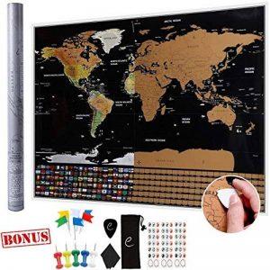 Carte du monde à gratter XXL Escapades©, Edition Premium avec les drapeaux de tous les pays. Grattez les endroits que vous avez visité. Le cadeau idéal pour les voyageurs. Grande taille : 82 x 59 cm, décoration murale idéale + Accessoires GRATUITS en bonu image 0 produit