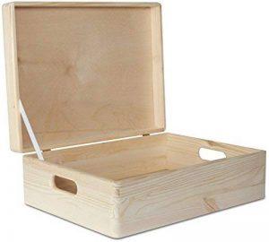 Creative Deco XL Grande Caisse de Rangement en Bois Simple - 40 x 30 x 14 cm - Boîte Non Peinte - Avec Poignées - Parfait Pour les Documents, Objets, Jouets et Outils de la marque Creative Deco image 0 produit