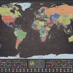 Deluxe Scratch-Off Travel Map Poster–avec drapeaux de pays et le monde de 50Plus Visités touristiques, suivi de vos Aventures (Noir et Doré avec argent montagnes–83,8x 58,4cm) de la marque ZEZAZU image 3 produit