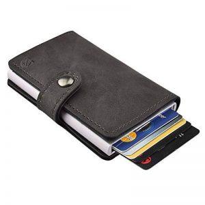 Dlife RFID Carte de Crédit Titulaire de Automatique Pop-up en Aluminium Blocage Étui PU Cuir Entreprise Slim Mini Porte-monnaie (Gris) de la marque Dlife image 0 produit