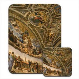 Fresco de plafond en musée du Vatican, Rome, Italie, Ensemble tapis de souris et dessous de verre de la marque Fancy A Snuggle image 0 produit