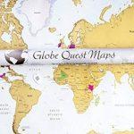 Globe Quest Carte du monde à gratter pour faire apparaître les pays visités en couleur – Cadeau idéal pour les voyageurs – Édition de luxe 60 x 90 cm de la marque Globe Quest Maps image 1 produit