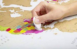 Globe Quest Carte du monde à gratter pour faire apparaître les pays visités en couleur – Cadeau idéal pour les voyageurs – Édition de luxe 60 x 90 cm de la marque Globe Quest Maps image 0 produit