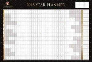 Grand calendrier mural 2018 Concord en format A1, laminé noir et or, avec stylo et étiquettes de la marque Pukka Pad image 0 produit