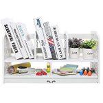 Home-Neat 2-Tier Composite Bois- Plastique Etagère de Stockage Rangement avec 5 Compartiments pour Maison Bureau Cuisine Chambre Salle de Bains, Blanc de la marque Home-Neat image 1 produit