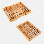 Homfa Range-Couverts Extensible en Bambou de 5 à 7 Compartiments Tiroir de Cuisine Ajustable 40 x 30 à 48,5 cm de la marque Homfa image 3 produit