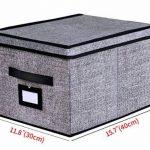 homyfort Lot de 3 boîtes de Rangement Pliable Housse Fermeture Aimant Couvercle poignée en Cuir, 30 x 40 x 25 cm, Noir-Lin, 7XALB03PLP de la marque homyfort image 1 produit