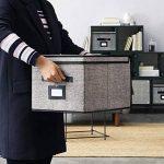 homyfort Lot de 3 boîtes de Rangement Pliable Housse Fermeture Aimant Couvercle poignée en Cuir, 30 x 40 x 25 cm, Noir-Lin, 7XALB03PLP de la marque homyfort image 3 produit