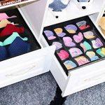 homyfort Organisateur de Tiroir Pliable Non-tissé sous-vètements, Soutien Gorges, Chaussettes Boîte de Rangement à Compartiment, Pack de 2, Non-tissé, Noir-Lin, XAS16S5 de la marque homyfort image 4 produit