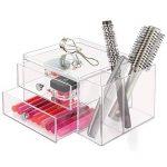 InterDesign Drawers tour de rangement, boite-tiroirs empilable plastique à 2 tiroirs & compartiments, boite de rangement cosmétique & objets bureau, transparent de la marque InterDesign image 2 produit