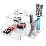 InterDesign Drawers tour de rangement, boite-tiroirs empilable plastique à 2 tiroirs & compartiments, boite de rangement cosmétique & objets bureau, transparent de la marque InterDesign image 3 produit