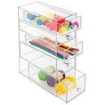 InterDesign Drawers tour de rangement, rangement salle de bain en plastique avec 5 tiroirs, boite rangement pour cosmétiques ou accessoires bureau, transparent de la marque InterDesign image 4 produit