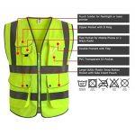 """JKSafety 9 poches de classe 2 """"gilet de sécurité haute visibilité devant avec des bandes réfléchissantes, jaune répond aux normes EN ISO 20471 – Unisexe (Moyen) de la marque JKSafety image 2 produit"""