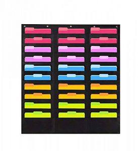 JOTOM Tableau de poche de rangement mural à suspendre File Folder Pocket Chart Cascading Organiseur pour bureau, à l'école ou à la maison 30 Pockets de la marque JOTOM image 0 produit