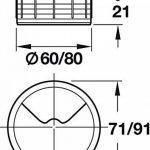 Lot de 2Bureau–Passe-câbles en plastique h1021Câble rond | Aspect or Passage de câble | Guide de perçage à Sensations Câble | Boîte Ø 60mm | Made in Germany | Meubles Poignées de GedoTec® de la marque GedoTec® image 3 produit