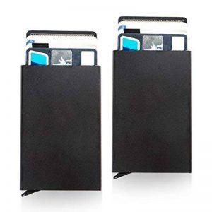 Lot de 2 portes-cartes de visite professionnels / étui, Porte-cartes de crédit en aluminium RFID Hatisan Lightweight Blocking (lecteur de pouce, Pop-up automatique), portefeuille de poche ultra mince pour les hommes et les femmes(Noir) de la marque Hatisa image 0 produit