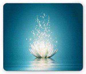 Lotus Mouse Pad by, Magic Lotus with Bright Reflections Zen Life Spiritual Meditation Yoga Print, Standard Size Rectangle Non-Slip Rubber Mousepad, Petrol Blue Coconut de la marque Msosh image 0 produit