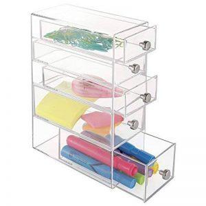 mDesign boite de rangement a tiroir – organiseur de bureau à 3 petits et 2 grands tiroirs – trieur de bureau pour mettre de l'ordre sur votre espace de travail – blanc de la marque MetroDecor image 0 produit