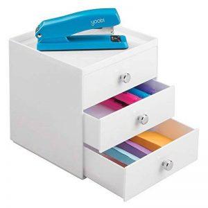 mDesign boite de rangement a tiroir – organiseur de bureau 3 tiroirs – trieur de bureau pratique pour un espace de travail en ordre – blanc de la marque MetroDecor image 0 produit