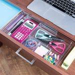 mDesign Organiseur de bureau extensible – Rangement bureau pour les accessoires de bureau ou tiroir de bureau - Boîte de rangement bureau pour marqueurs, gommes, etc. - Extensible jusqu'à 47 cm de la marque MetroDecor image 2 produit