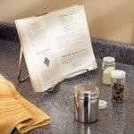 mDesign porte livre de cuisine pour le plan de travail – idéal comme support livre, comme support assiette ou pour la présentation de photos – porte-livre cuisine élégant – en acier – argenté de la marque MetroDecor image 1 produit