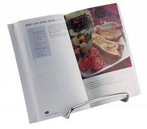 mDesign porte livre de cuisine pour le plan de travail – idéal comme support livre, comme support assiette ou pour la présentation de photos – porte-livre cuisine élégant – en acier – argenté de la marque MetroDecor image 0 produit