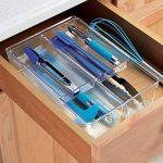 mDesign Rangement couverts transparent – Range couverts double pour tiroir – Rangement tiroir idéal : quatre compartiments pour les ustensiles de cuisine – En plastique durable de la marque MetroDecor image 1 produit