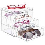 mDesign support lunette – boite de rangement plastique pour lunettes et Cie – porte lunette – en plastique – transparent de la marque MetroDecor image 1 produit