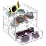 mDesign support lunette – boite de rangement plastique pour lunettes et Cie – porte lunette – en plastique – transparent de la marque MetroDecor image 4 produit