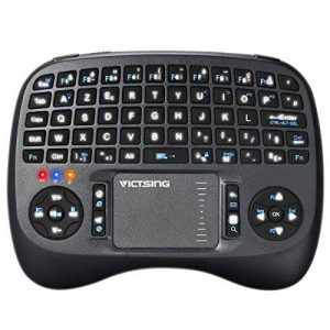Mini Clavier Sans Fil 2.4GHz VicTsing Clavier AZERTY 73 Touches avec Pavé Tactile Haute Sensibilité Touchpad Rétroéclairage LED Batterie Rechargeable Lithium 800mA pour Smart TV, Mini PC, HTPC, Console, Ordinateur, iOS, Android, Windows, Linux, etc (Noir- image 0 produit
