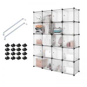 PONCTUEL ESCARGOT Armoire Penderie Opaque Cube de Rangement Vêtement Jouet 12 Cube Noir Blanc (Blanc 20 Cube) de la marque PONCTUEL ESCARGOT image 0 produit