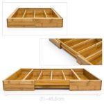 Relaxdays 10016098 Range-Couverts extensible en Bambou de 5 à 7 compartiments HxlxP : 5 x 48,5 x 37 cm tiroir de cuisine ajustable de 31 à 48,5 cm organiseur de tiroir réglable pratique, nature de la marque Relaxdays image 3 produit
