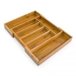 Relaxdays 10016098 Range-Couverts extensible en Bambou de 5 à 7 compartiments HxlxP : 5 x 48,5 x 37 cm tiroir de cuisine ajustable de 31 à 48,5 cm organiseur de tiroir réglable pratique, nature de la marque Relaxdays image 0 produit