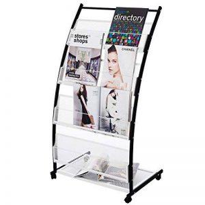 RMAN Présentoir Mobile Din A 4 avec Roulettes Prospectus Literature Magazine Display Stand Rack 4 Niveaux, Noir/Blanc de la marque RMAN - Möbel&Schaufenster-Display image 0 produit