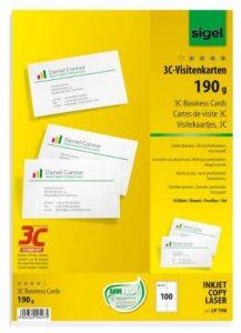 Sigel LP790 Lot de 100 Cartes de visite, 3C, 8,5 x 5,5 cm, 190 g de la marque Sigel image 0 produit
