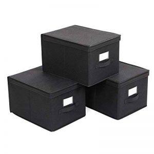 SONGMICS lot de 3 boîtes de rangement pliable housse noire avec couvercle et poignée 40x30x25cm RFB03H de la marque SONGMICS image 0 produit