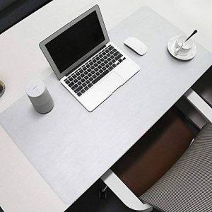 Sous-main de protection et d'organisation avec zone d'écriture confortable, en cuir PU, 80 x 40cm - BUBM, Imitation cuir, gris clair, 80x40cm de la marque BUBM image 0 produit