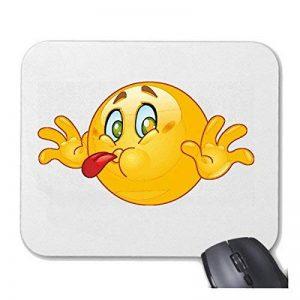 """Tapis de souris Mousepad (Mauspad) """"NAUGHTY SOURIANT D'ÉTIREMENTS sa langue """"SMILEYS SMILIES ANDROID IPHONE EMOTICONS IOS grin VISAGE EMOTICON APP"""" pour votre ordinateur portable, ordinateur portable ou PC Internet .. (avec Windows Linux, etc.) à White de image 0 produit"""