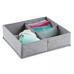 Tiroir de commode mDesign en tissu. Convient aux sous-vêtements, chaussettes, soutiens-gorge, collants, jambières - 4 compartiments, Gris de la marque MetroDecor image 0 produit