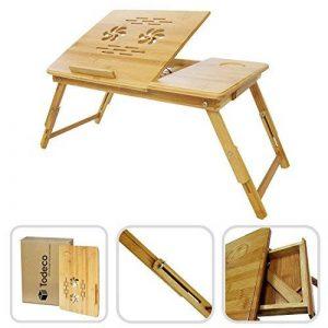Todeco - Table Portable pour Ordinateur, Plateau de Lit Pliable - Matériau: Bambou - Taille du Bureau: 55,1 x 35,1 cm - Bureau réglable avec Trous d'aération de la marque Todeco image 0 produit