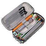 Étui de rangement pour crayons multifonctions BTSKY, étanche, avec motif floral et fermeture éclair; peut être utilisé comme matériel scolaire ou pochette de maquillage noir foncé de la marque BTSKY image 3 produit