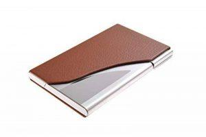 Un porte-cartes de visite fait en acier inoxydable de haute qualité et cuir, pour 13-15 cartes de visite, couleur: marron, Mod. 398-03 (DE) de la marque Quantum Abacus image 0 produit
