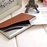 Un porte-cartes de visite fait en acier inoxydable de haute qualité et cuir, pour 13-15 cartes de visite, couleur: marron, Mod. 398-03 (DE) de la marque Quantum Abacus image 3 produit