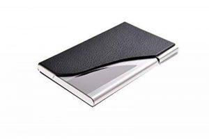 Un porte-cartes de visite fait en acier inoxydable de haute qualité et cuir, pour 13-15 cartes de visite, couleur: noir, Mod. 398-01 (DE) de la marque Quantum Abacus image 0 produit