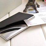 Un porte-cartes de visite fait en acier inoxydable de haute qualité et cuir, pour 13-15 cartes de visite, couleur: noir, Mod. 398-01 (DE) de la marque Quantum Abacus image 3 produit